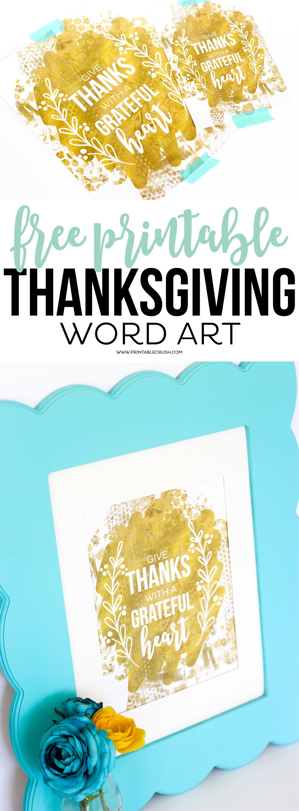 FREE Thanksgiving Printable Word Art - Printable Crush