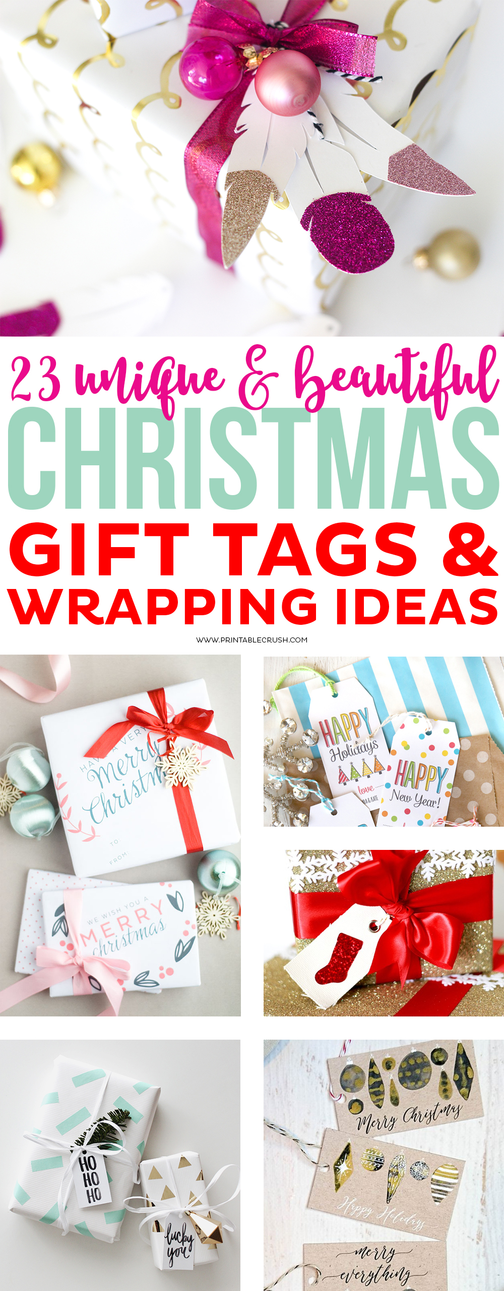 You'll love all these 23 Unique Christmas Gift Tags and Wrapping Ideas! I have included cute & free printable gift tags, printable wrapping paper, and some really fun ideas for wrapping for both kids and adults! via @printablecrush