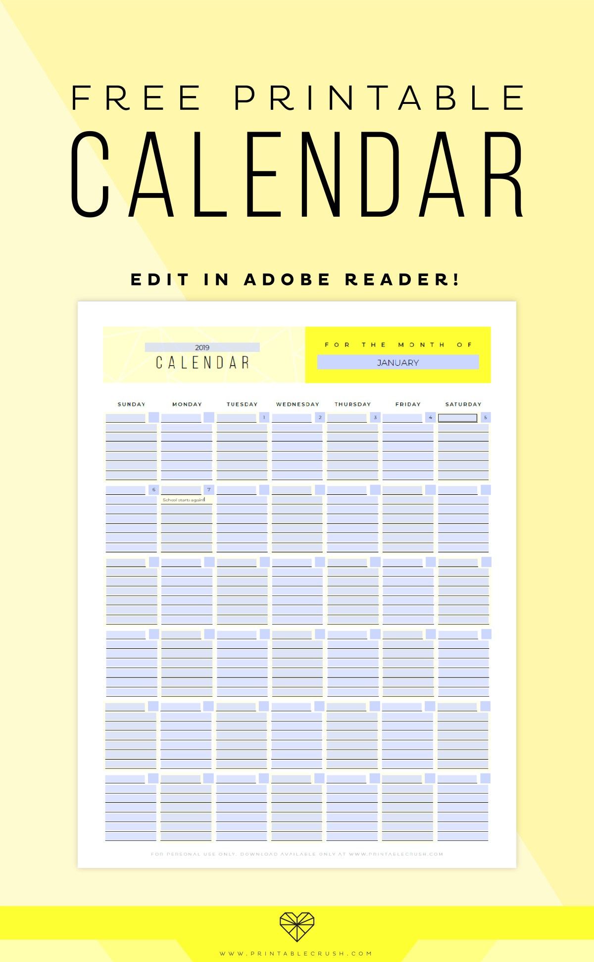 Download this FREE Printable Calendar and you'll never need another calendar again! Type the year, month, and dates in Adobe Reader, type in your schedule, then print!-07
