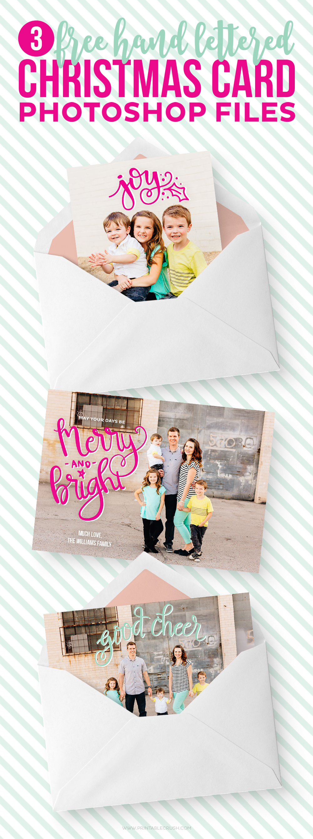 3 free hand lettered christmas card photoshop files printable crush