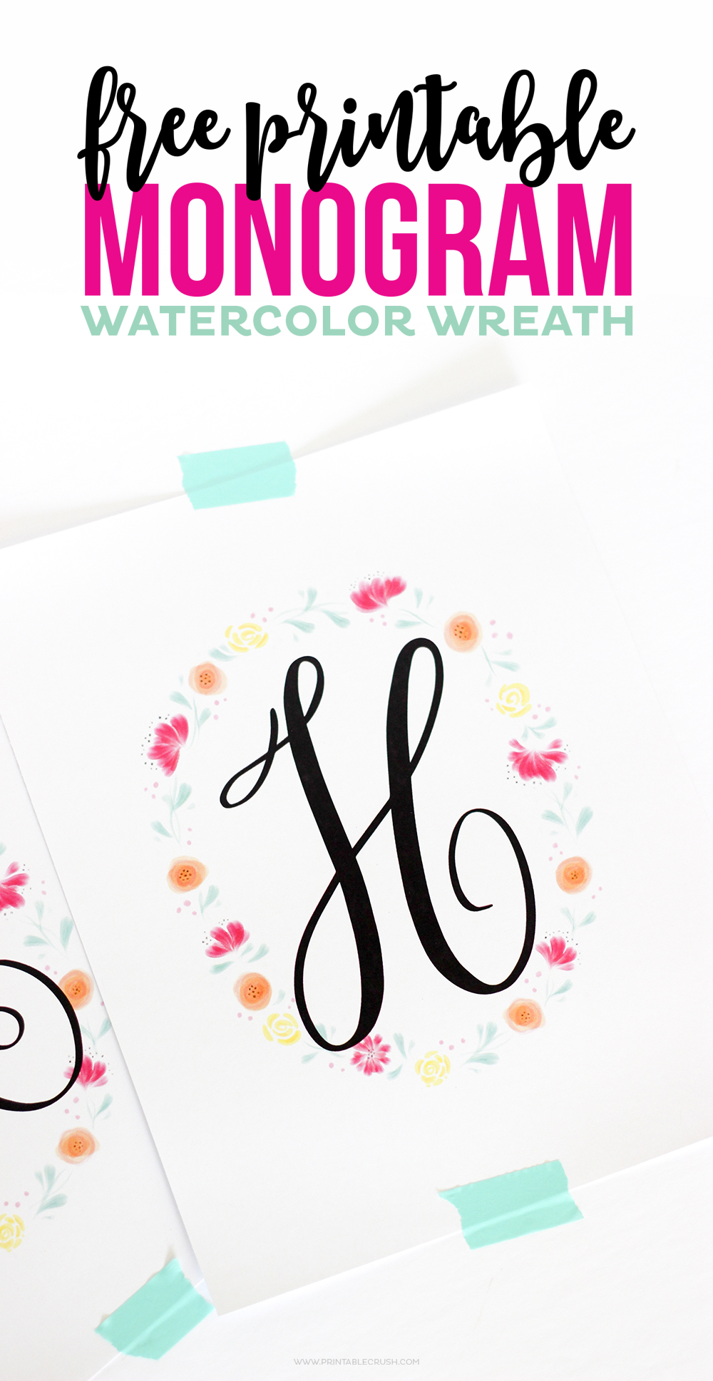 image regarding Free Printable Monogram referred to as No cost Printable Watercolor Monogram Wreaths - Printable Crush
