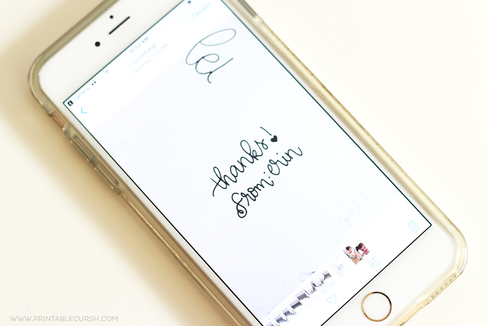close up photo of i-phone with hand lettering on it