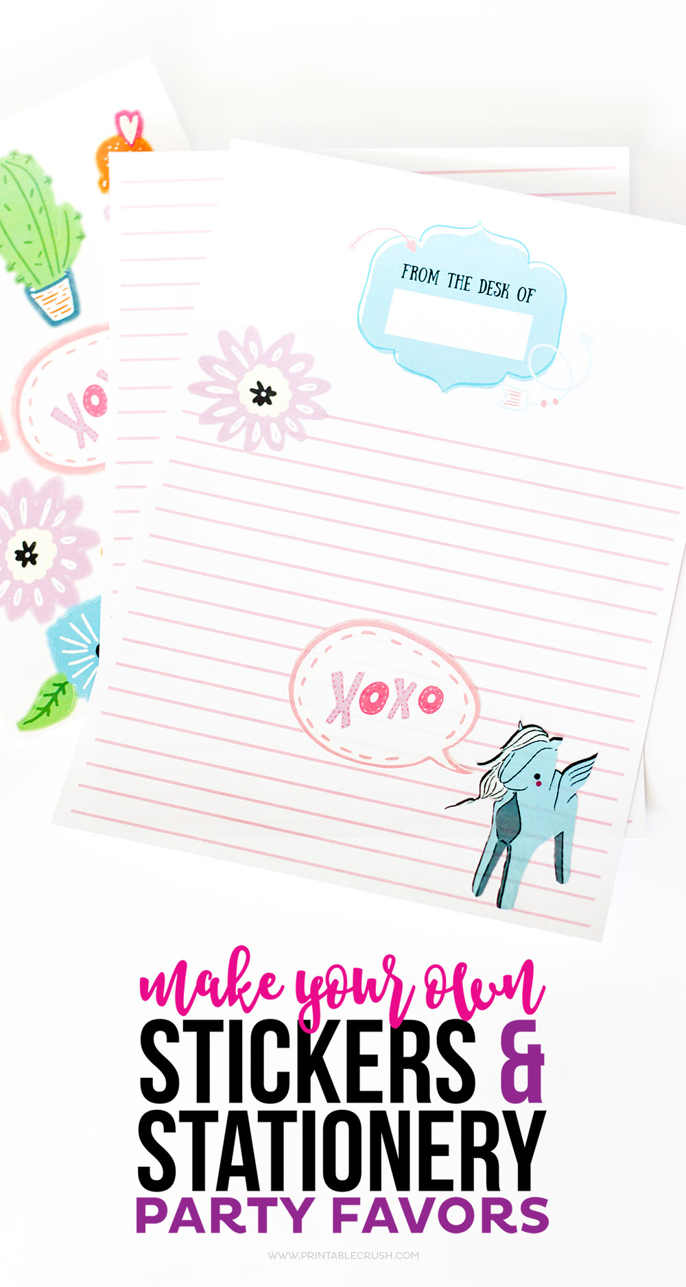 Close up of personalized stationary from make your own stickers tutorial