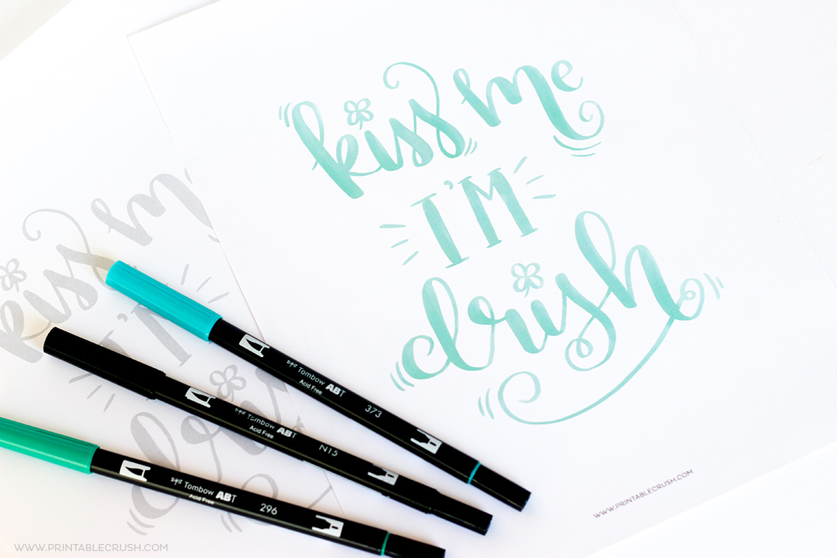 Download this FREE Printable St. Patrick's Day Brush Lettering Worksheet so you can practice your brush lettering or hand lettering!