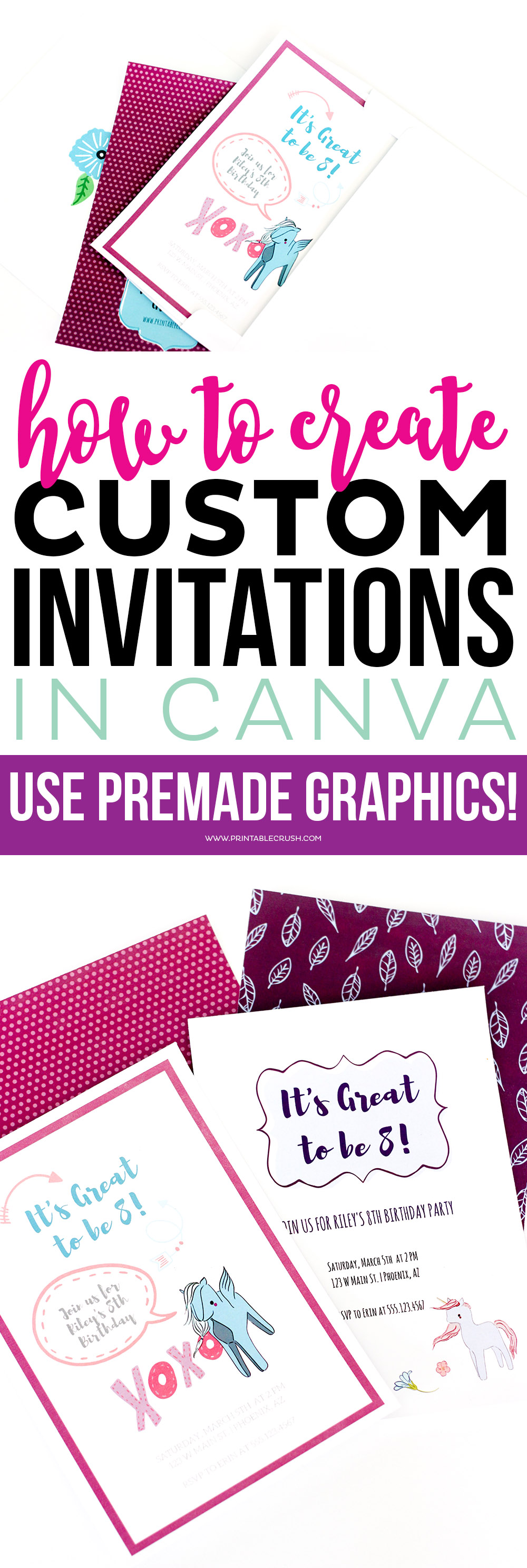 Create invitations long pin collage
