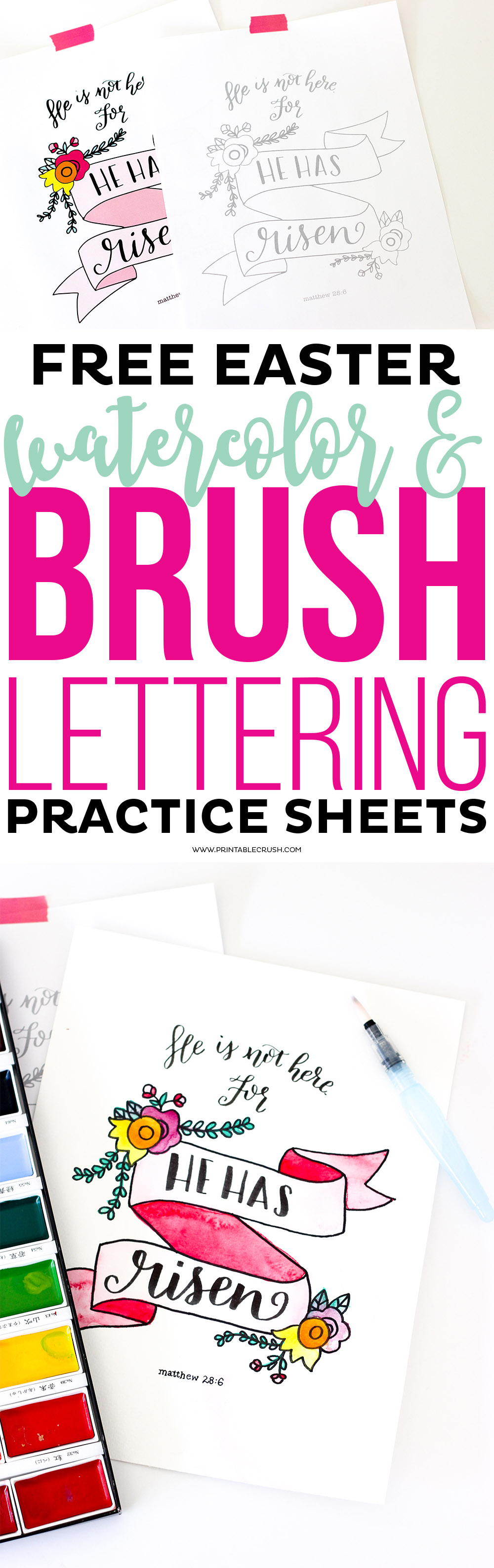 Download these FREE Easter Watercolor and Brush Lettering Practice Sheets so you can work with multiple mediums! It turns out GORGEOUS!
