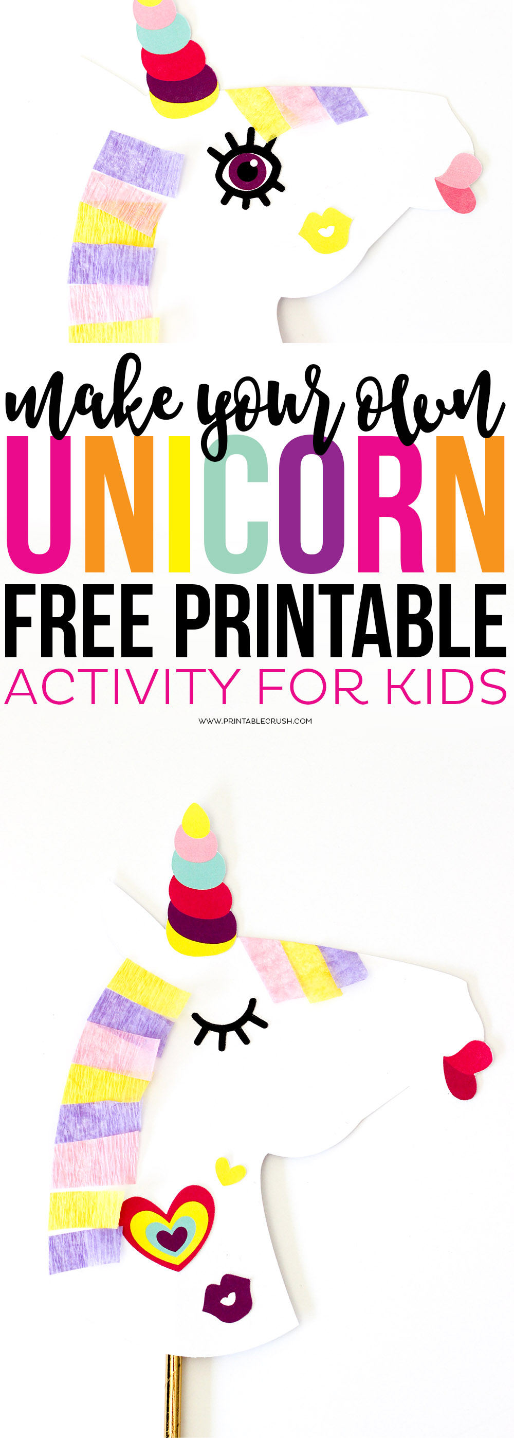Make Your Own Unicorn FREE Printable is the perfect activity for kids that are home all day for Spring or Summer Break! Hardly any mess and they get to be creative!