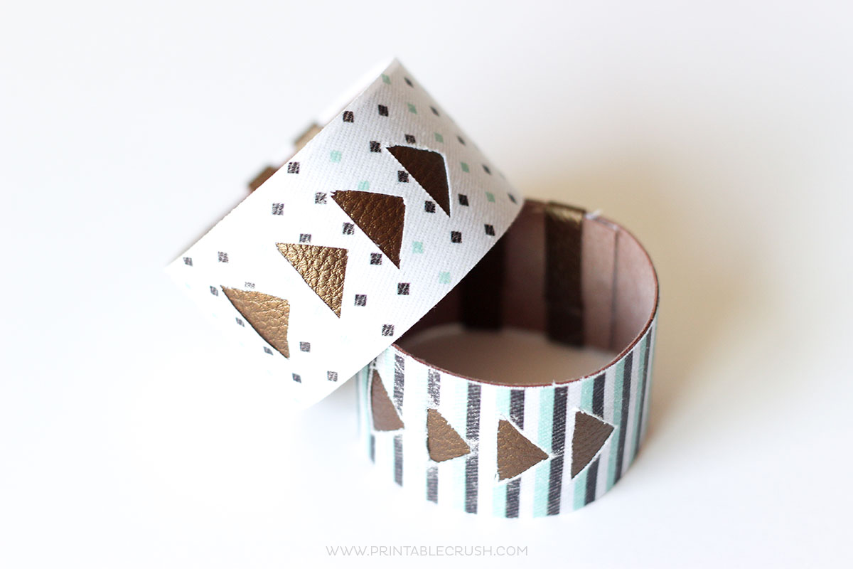 Follow this Cricut Tutorial to make this Faux Leather Bracelet. It's the EASIEST way to create a gorgeous piece of DIY jewelry!