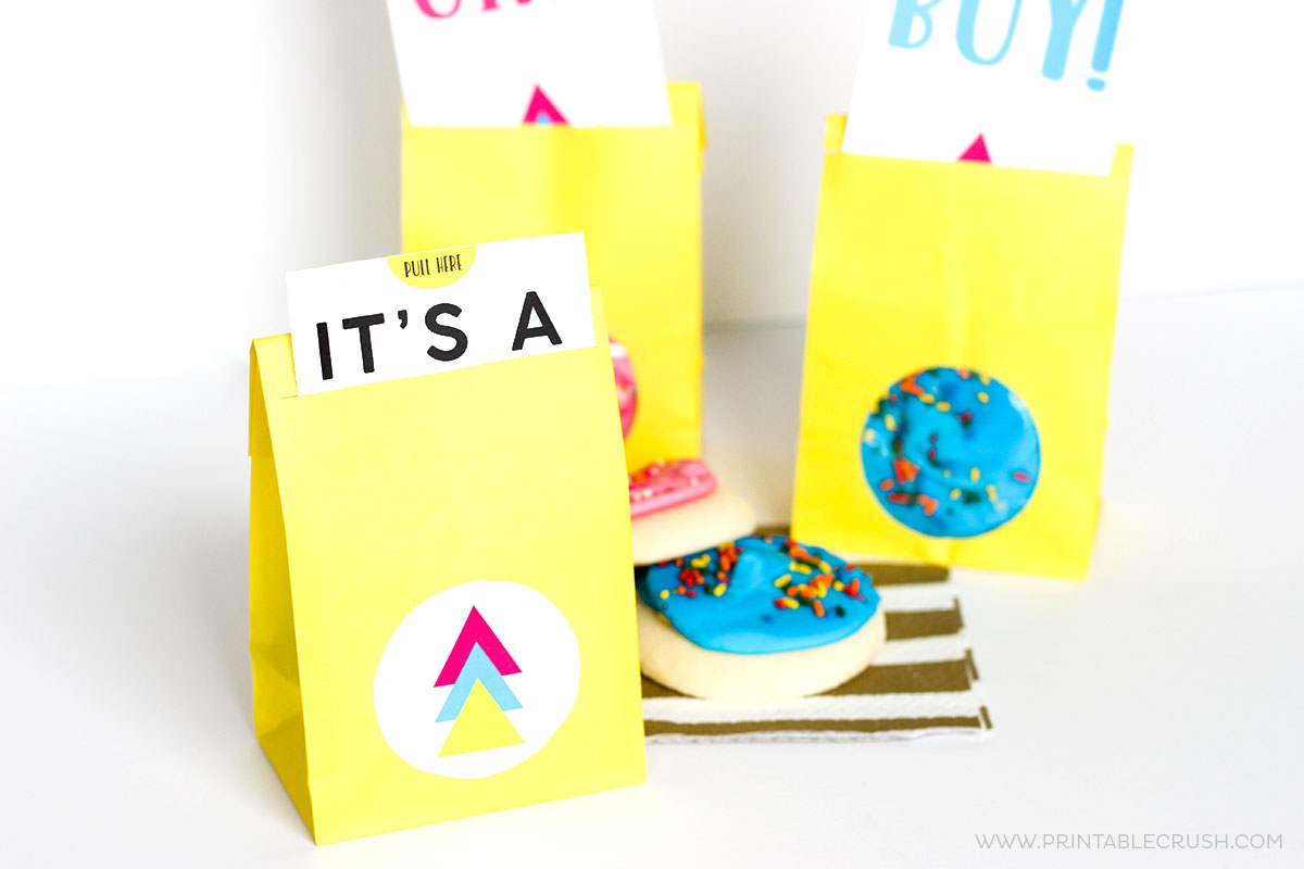 Gender reveal party supplies party favor bags with pink and blue frosted cookies on white table