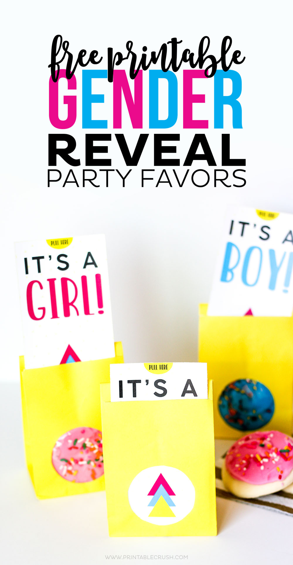 Yellow bags with gender reveal party favors and pink and blue frosted cookies