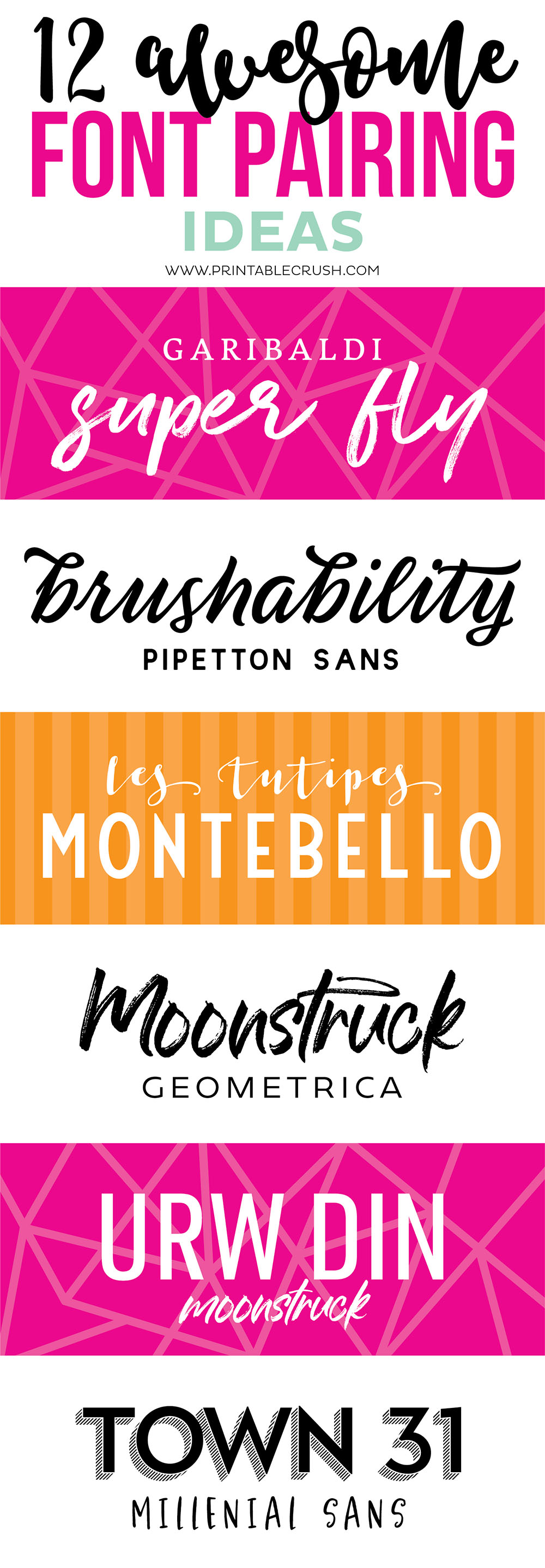 Pin collage for font paring