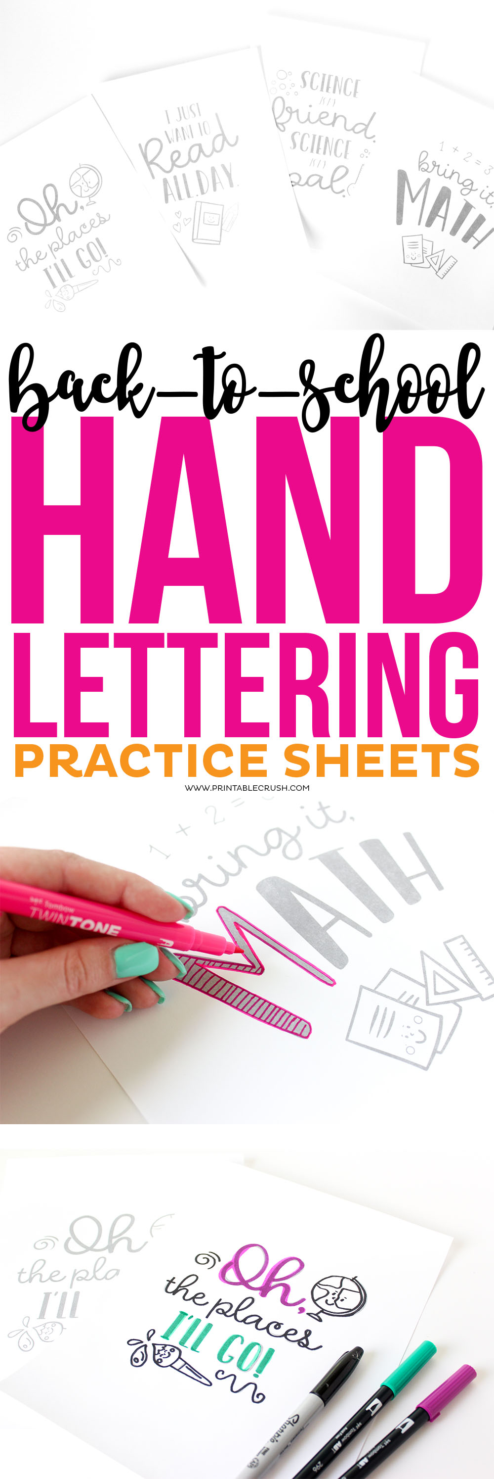 These Back to School Hand Lettering Practice Sheets are great for kids and parents who want to start lettering! Download all four designs for FREE! via @printablecrush