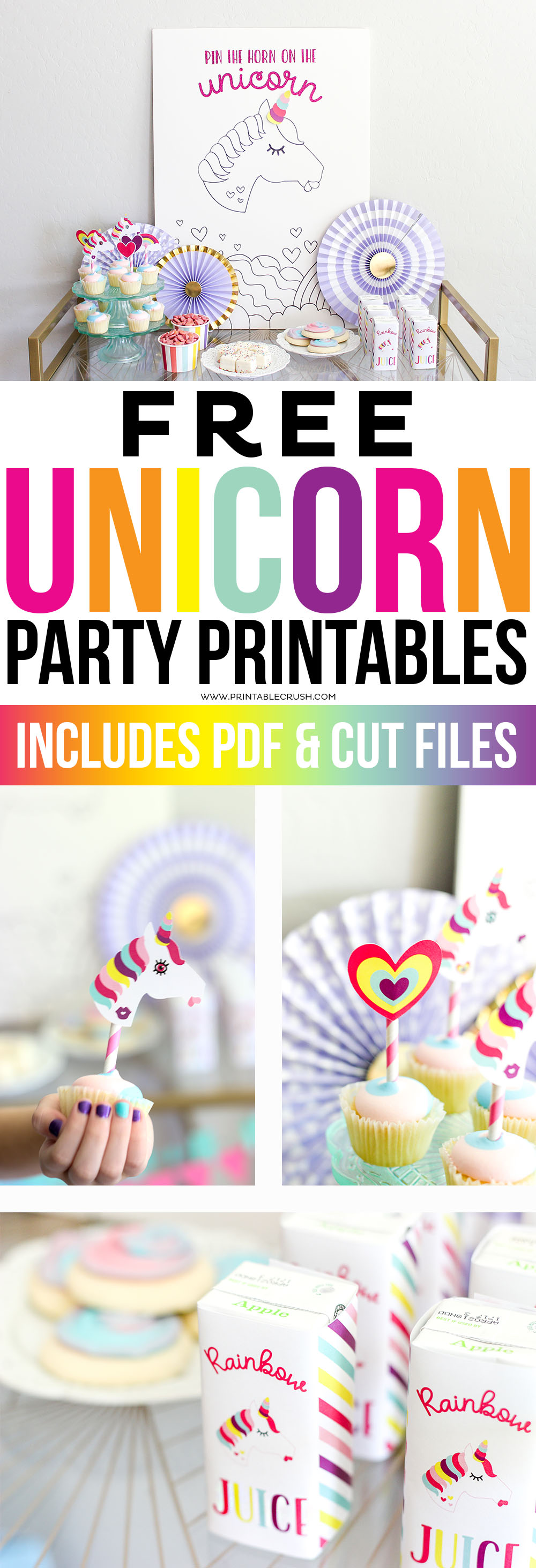 image relating to Unicorn Cupcake Toppers Printable referred to as Free of charge Unicorn Bash Printables and Slash Information - Printable Crush