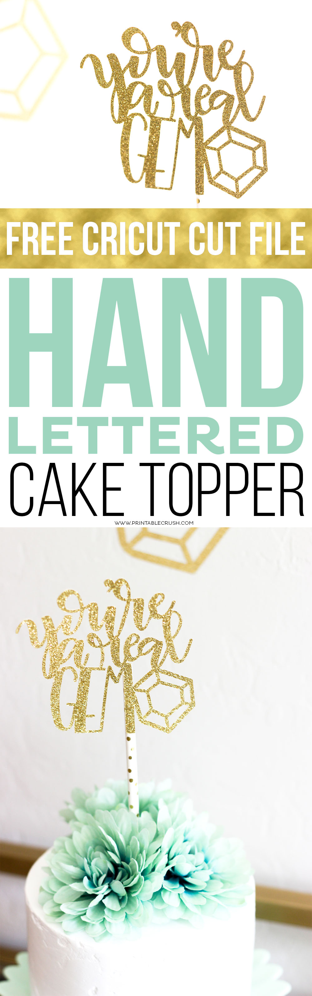 This Hand Lettered Cake Topper is so simple to make for a game night with friends! Make sure you can download the FREE Cricut Cut File!