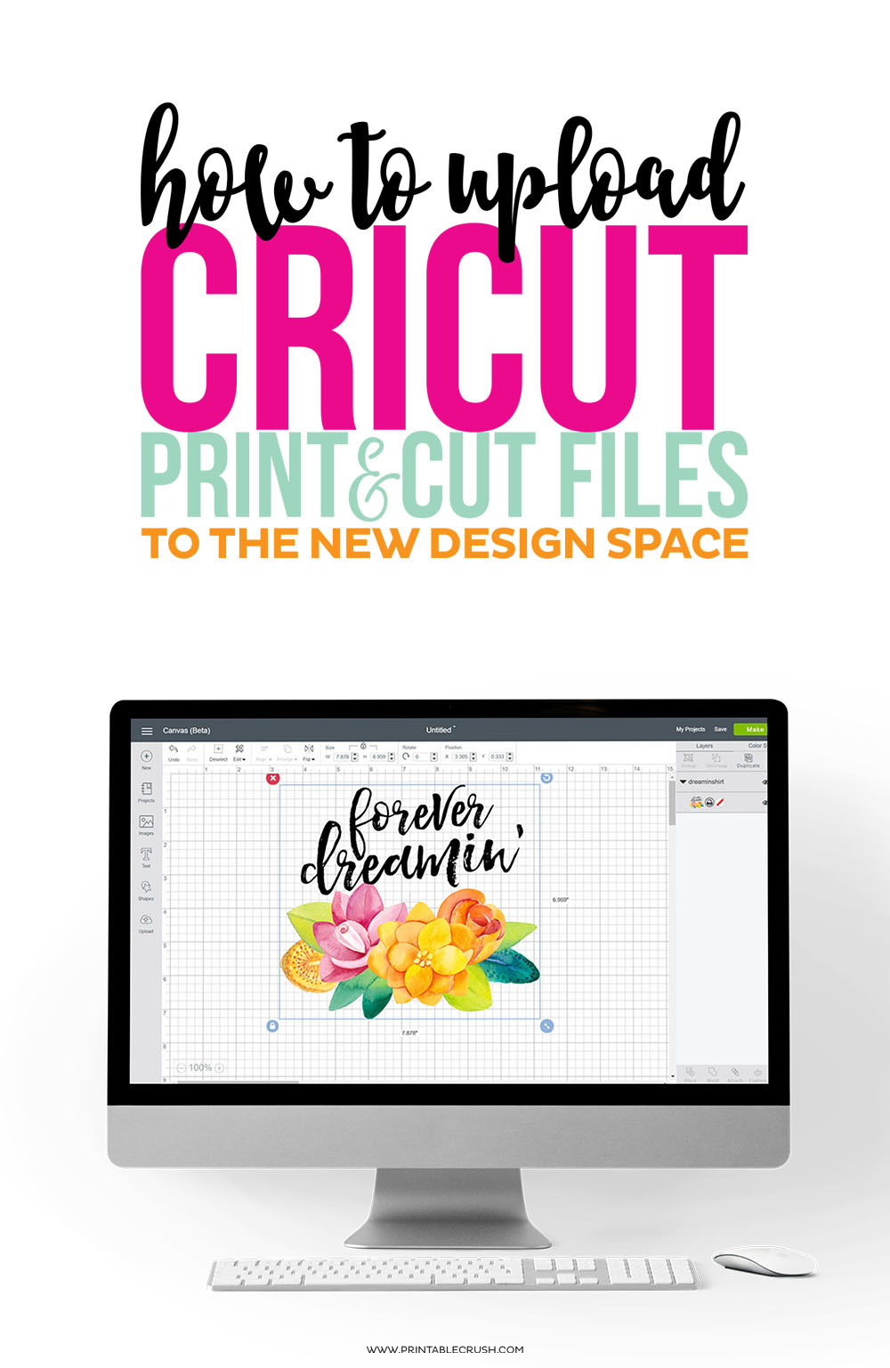 Learn how to How to Upload Cricut Print and Cut Files to Design Space using a PNG file we created in Adobe Photoshop.