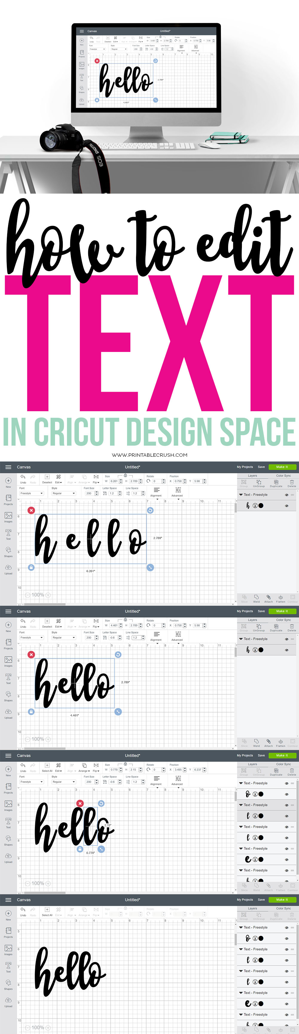 long collage on how to edit text in Cricut design space
