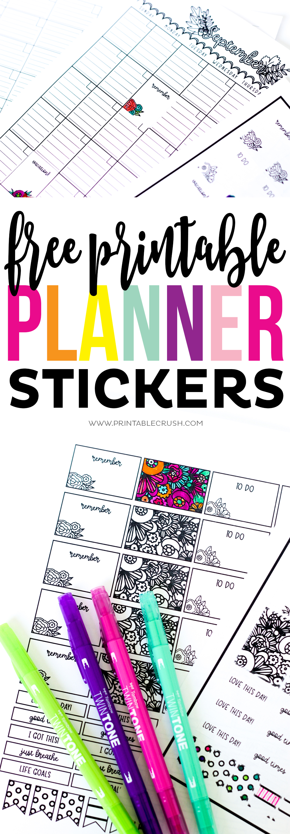 Long pin collage for printable planner stickers