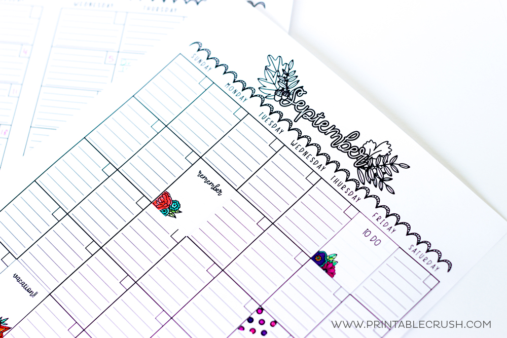 Printable planner stickers on a planner page