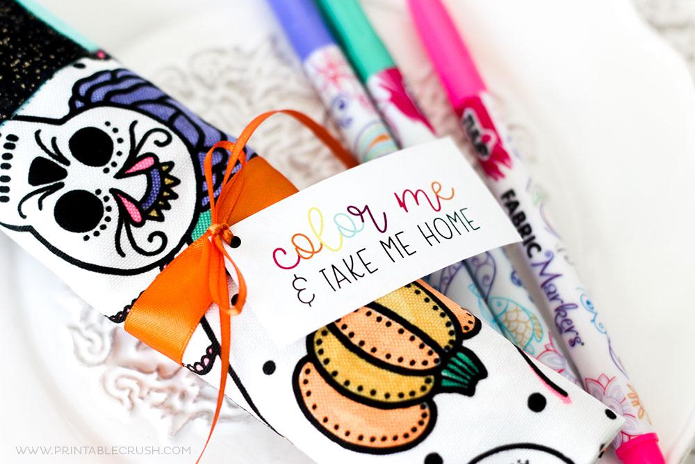 coloring book napkin party favor idea
