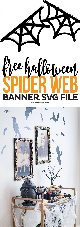 FREE Spider Web Banner SVG File - Printable Crush