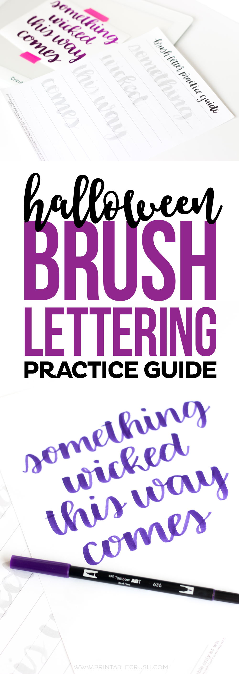 """I love this """"Something Wicked This Way Comes"""" Halloween Brush Lettering Practice Sheet from Random Olive! Practice right on the sheet or trace it for beautiful Halloween Wall Art!"""