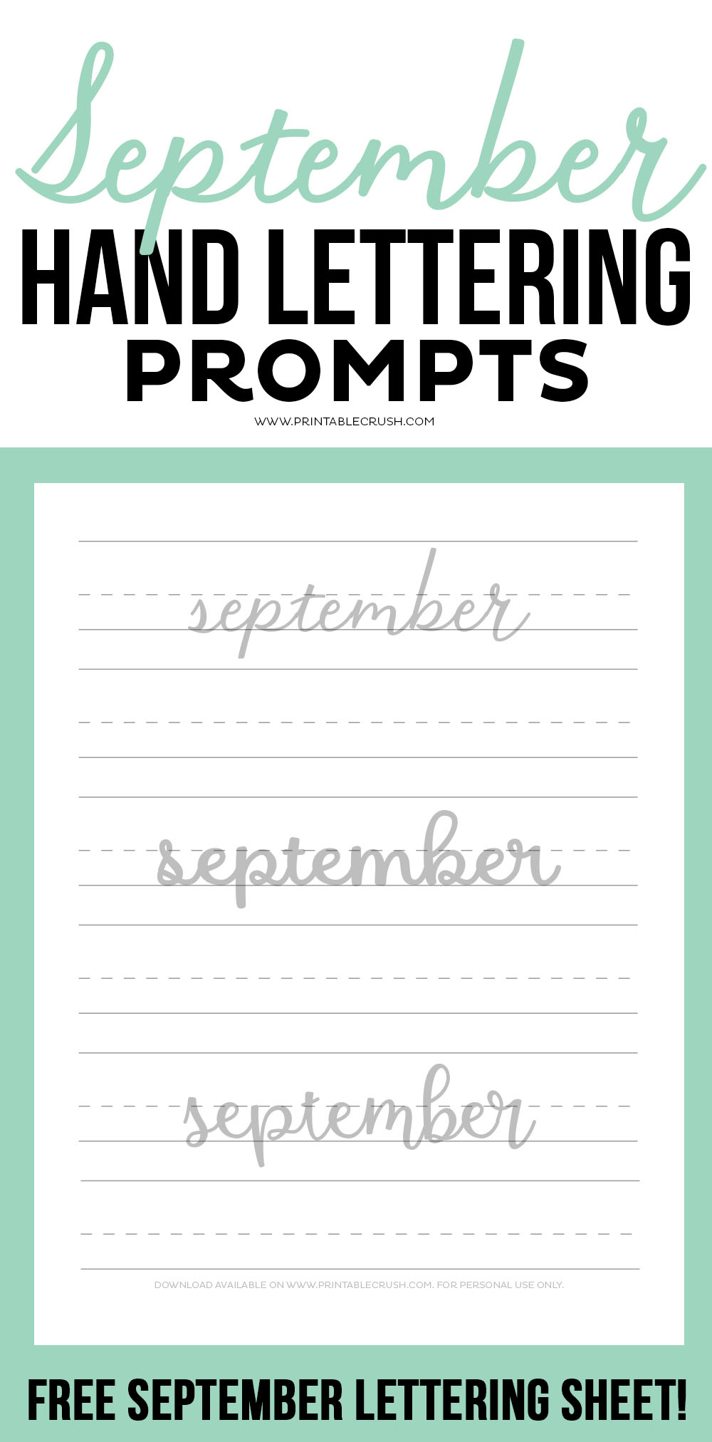 Get 30 September Hand Lettering Prompts plus a FREE practice sheet in this new blog series to improve your hand lettering skills!
