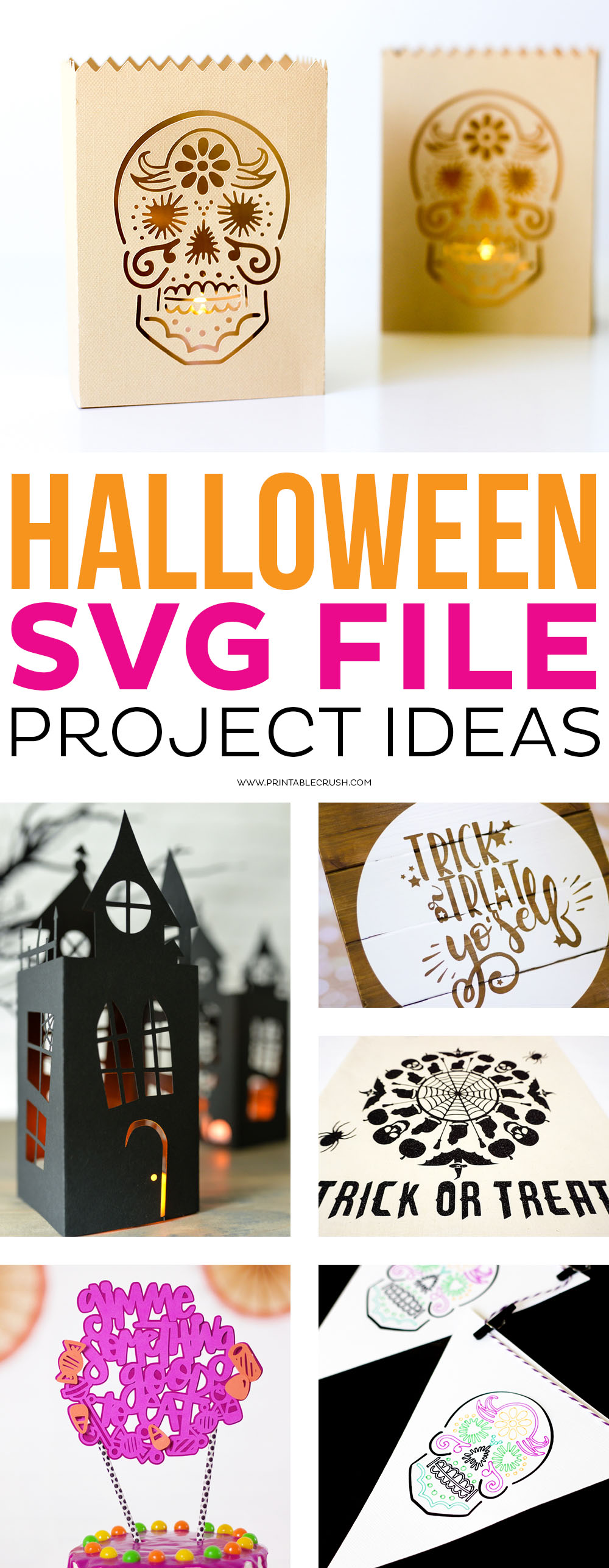 See fun Halloween SVG File Project ideas to help you get ready for Halloween! We've got you covered in Halloween home decor, party ideas, and more! #halloweensvgfiles #halloweencrafts #halloweenprojects #halloweendecor #halloween via @printablecrush