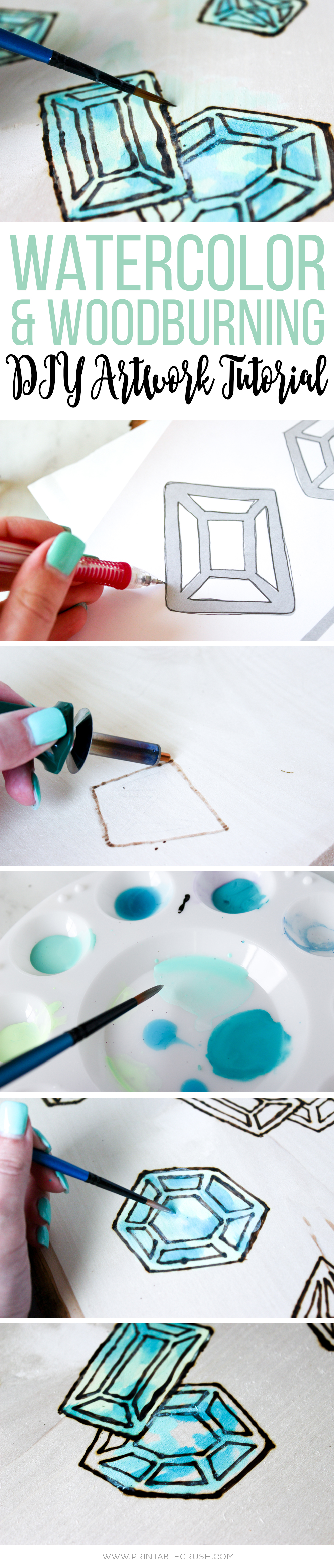 If you want a gorgeous piece of art in your home, follow this Watercolor and Woodburning DIY Artwork Tutorial. It's easy for a beginner or advanced artist!