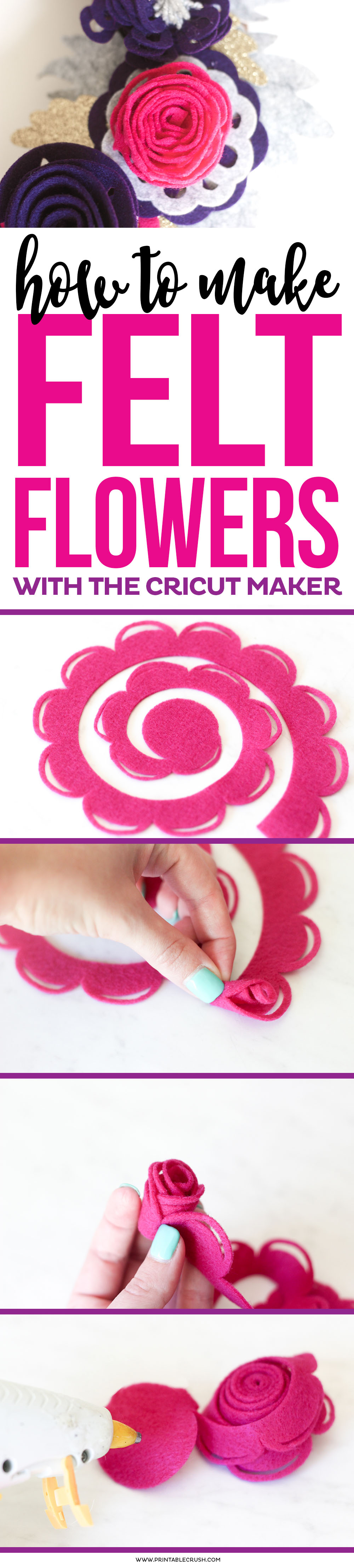 Learn how to make How to Make Felt Roses with the Cricut Maker to create a beautiful fall wreath or any other type of decor you would like! via @printablecrush