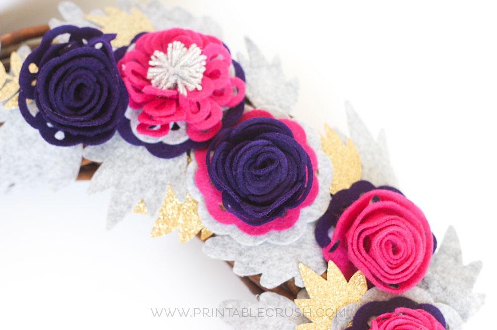 Purple and pink felt Roses