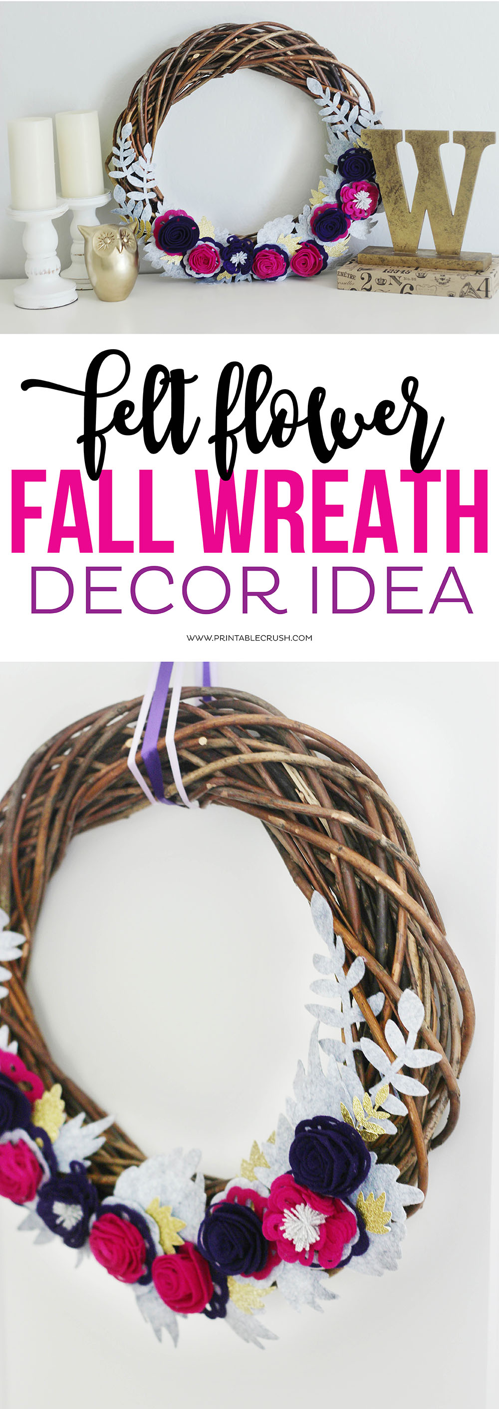 This gorgeous Felt Flower Fall Wreath Decor Idea looks like it was a ton of work, but it's incredibly easy to make! Great for Fall mantel decor! #cricutmaker #feltroses #diywreath #diyfallwreath #sayitwithcricut