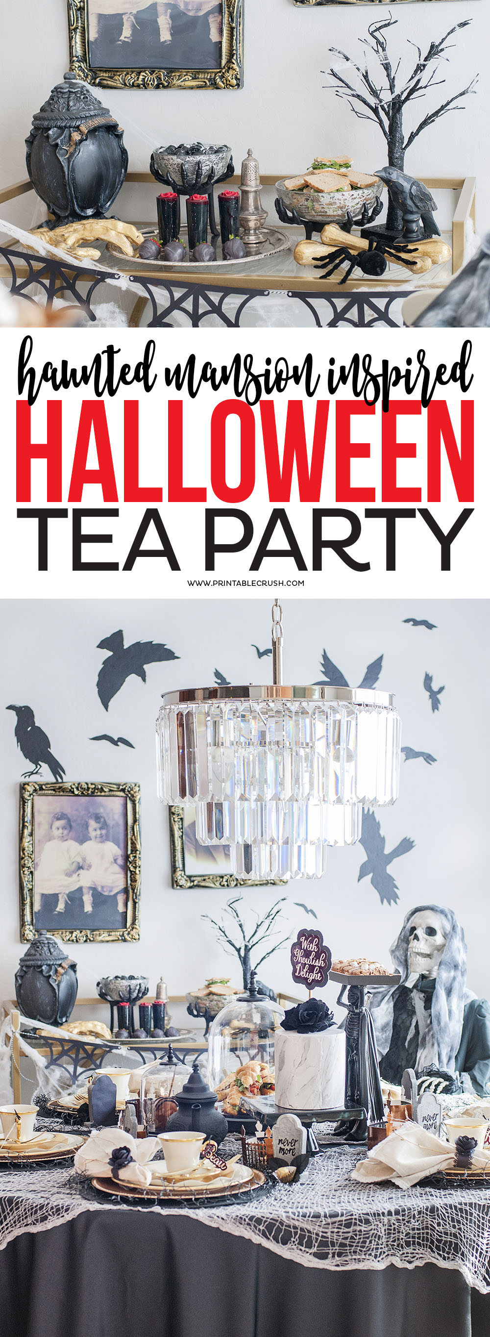 If you're a Disney fan, you'll love these Haunted Mansion Halloween Party Ideas! You'll find everything you need to throw an amazing Halloween party. via @printablecrush
