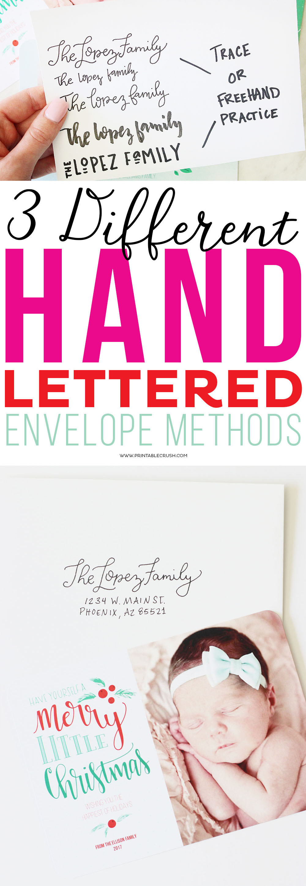 3 Different Hand Lettered Envelope Methods - Printable Crush