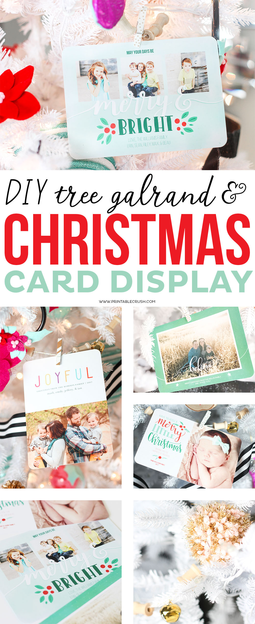 Give your Christmas Tree a personal touch this year with this super easy DIY Tree Garland Christmas Card Display! Includes fun elements like pom poms and jingle bells!