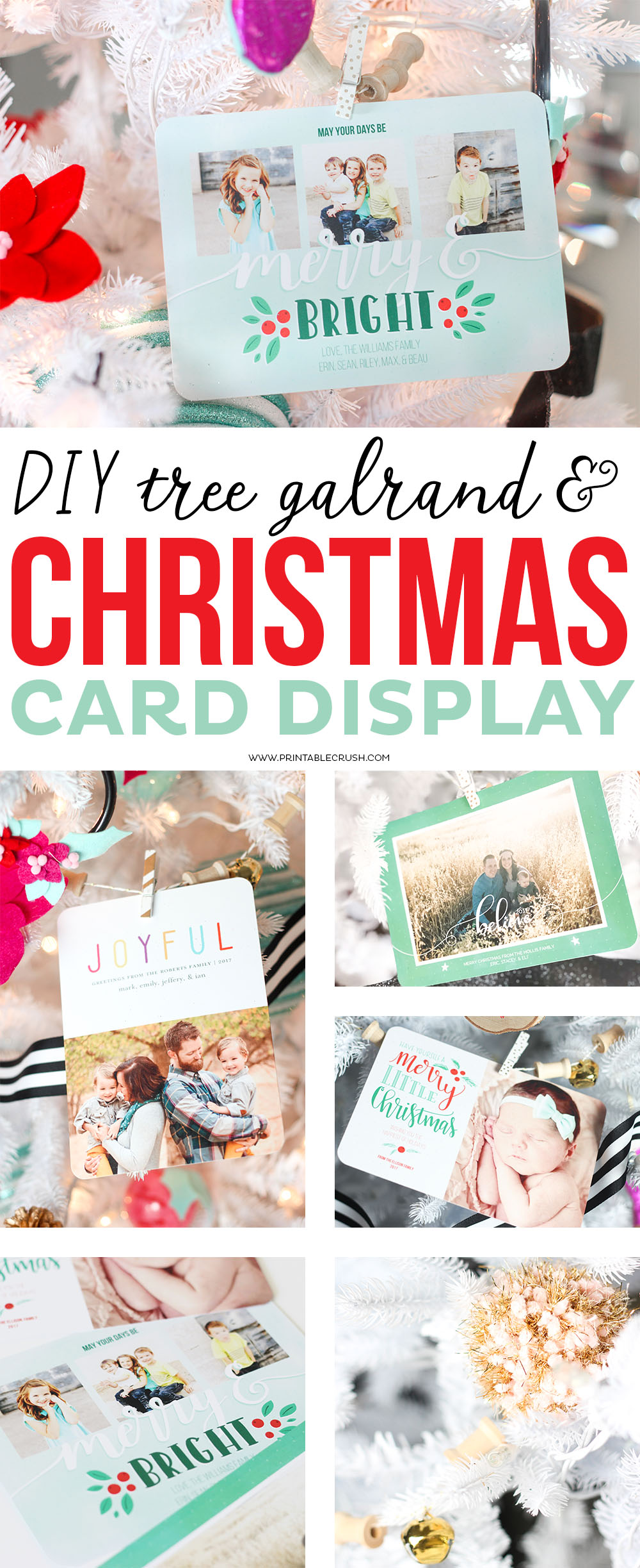 Give your Tree a personal touch this year with this super easyDIY Tree Garland Christmas Card Display! Includes fun items like pom poms and bells!