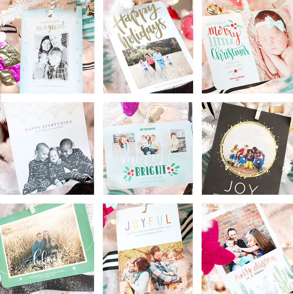 9 beautiful holiday photo cards to display on your Christmas Tree!