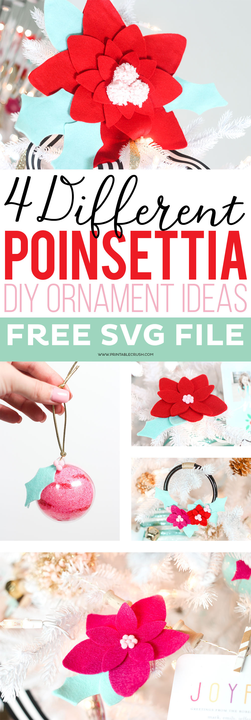 Check out this Mini Felt Wreath Ornament tutorial to make a unique and beautiful addition to your tree. I've also included 3 other Poinsettia Ornament Ideas!