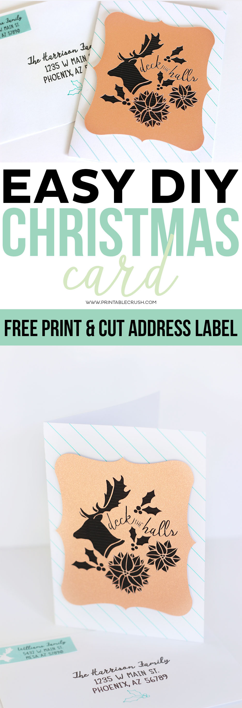 This Easy DIY Christmas Card tutorial also comes with a FREE Printable Address Label! You can customize the paper, colors, textures, and more.