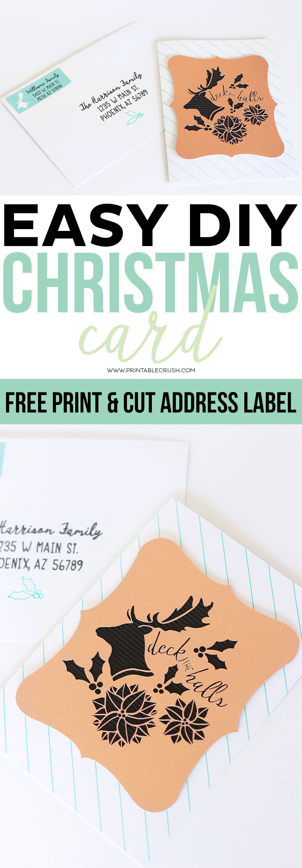 this easy diy christmas card tutorial also comes with a free printable address label you