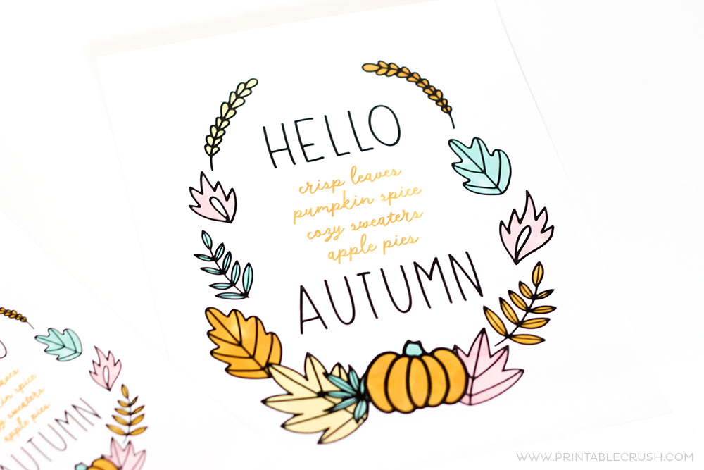 This FREE Hello Autumn Printable Wall Art will be a gorgeous new addition to your home. Simply download, print, and display!