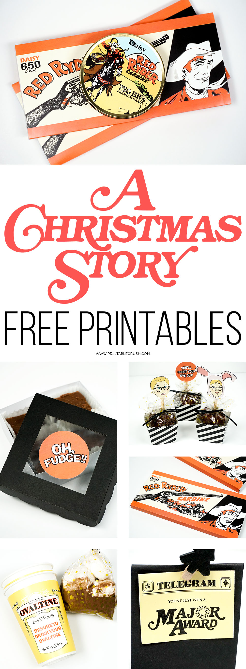 Download A Christmas Story FREE Printables to use at parties or for creative Christmas gifts. Includes 8 designs, from candy wrappers, to gift labels! #aChristmasStory #Freeprintables #Christmasgiftideas via @printablecrush