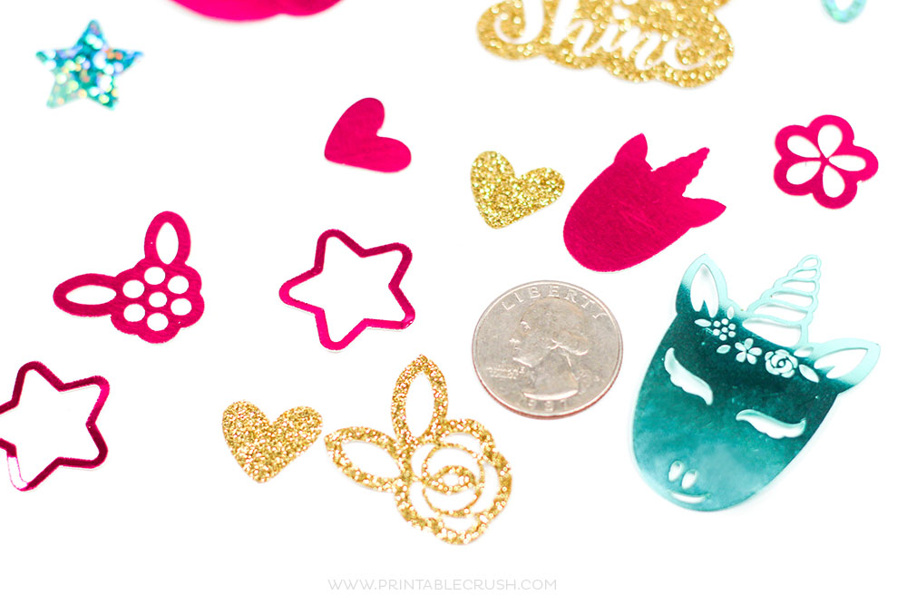 These Unicorn SVG Files make the cutest Unicorn DIY confetti ever! Make your own with this easy Cricut Maker Tutorial.