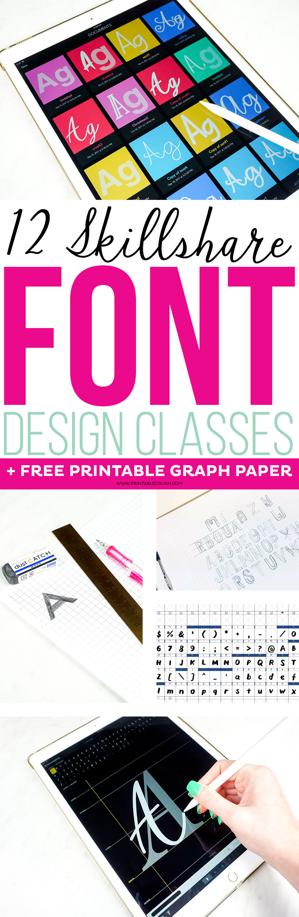 Whether you want to create fonts for personal use or for profit, check out these 12 Skillshare Font Design Classes to learn the basics of typography and font creation. via @printablecrush