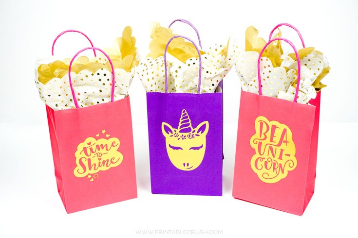 Adorable Gold Foil DIY Unicorn Gift Bags