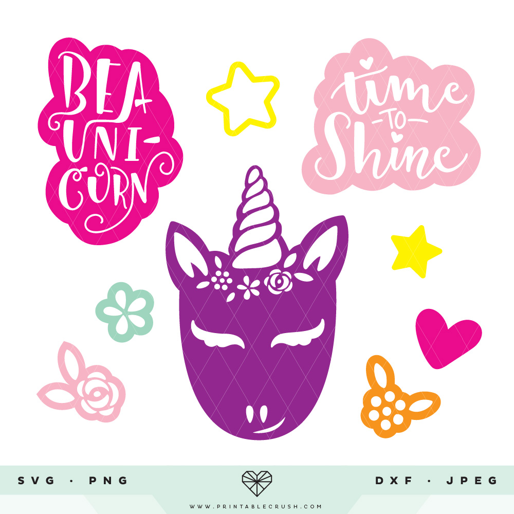 These Hand Drawn Unicorn SVG Files are perfect for your unicorn crafts and projects!