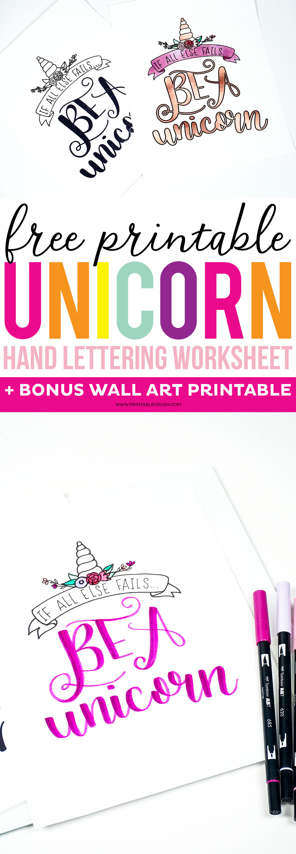 photograph regarding Printable Lettering named No cost Printable Unicorn Hand Lettering Worksheet and Wall Artwork