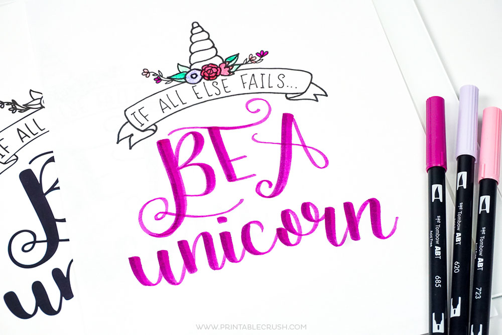 graphic about Unicorn Printable titled No cost Printable Unicorn Hand Lettering Worksheet and Wall Artwork