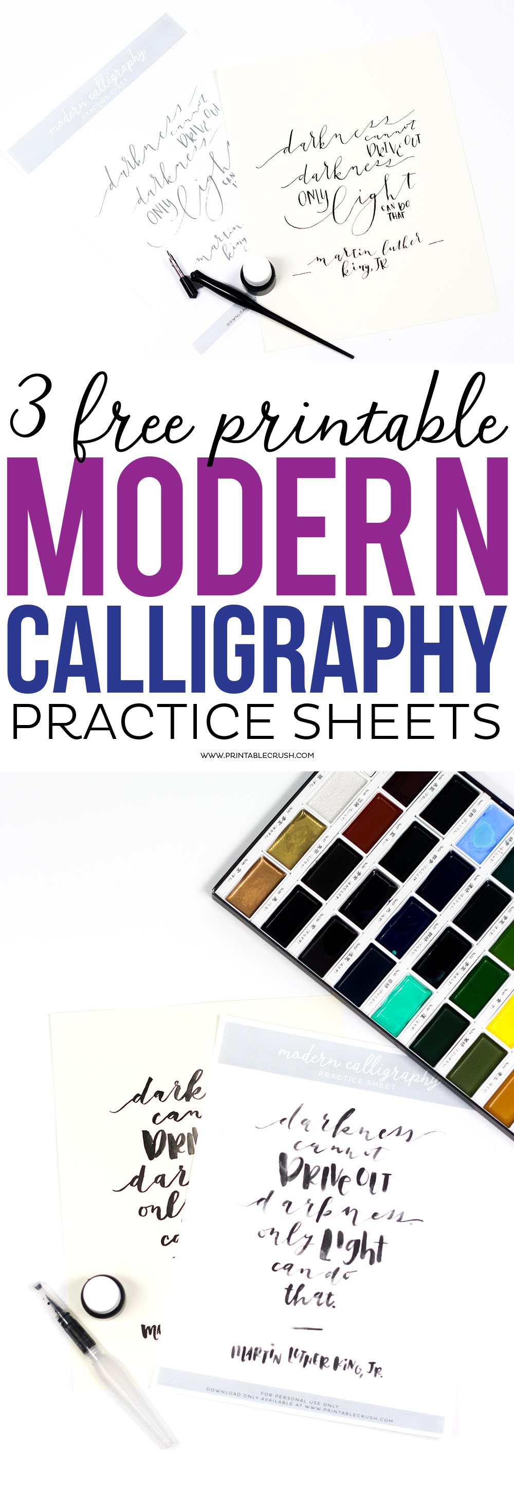 Download these3 Free Printable Modern Calligraphy Practice Sheets to try 3 different lettering styles. Plus, discover new calligraphy materials.