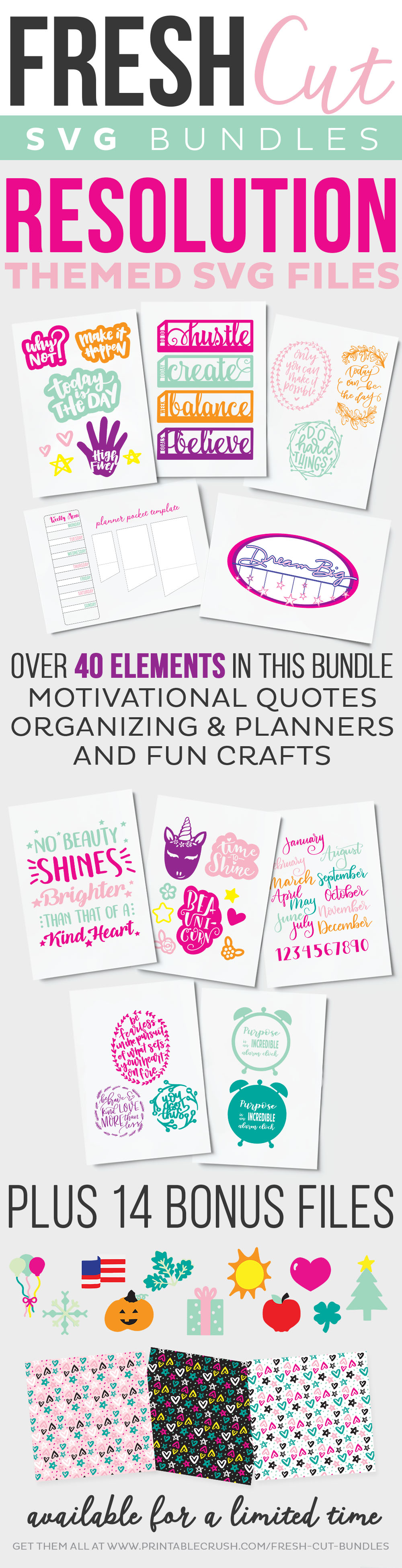 Resolution Themed SVG Files - includes over 40 elements and 14 bonus files for planning, crafts, organizing, and more!
