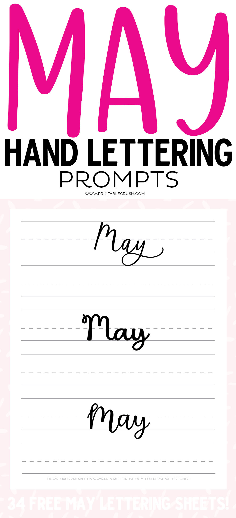 Get 31 MAY Hand Lettering Prompts plus 34 FREE practice sheets in this blog series to improve your hand lettering skills!
